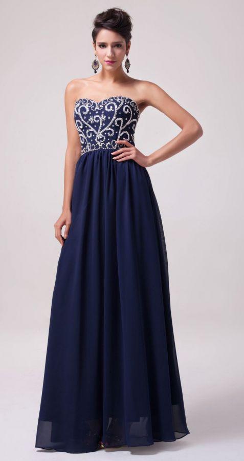 tmavě modré společenské šaty s korálkovou výšivkou - plesové šaty ... 12238b8e189